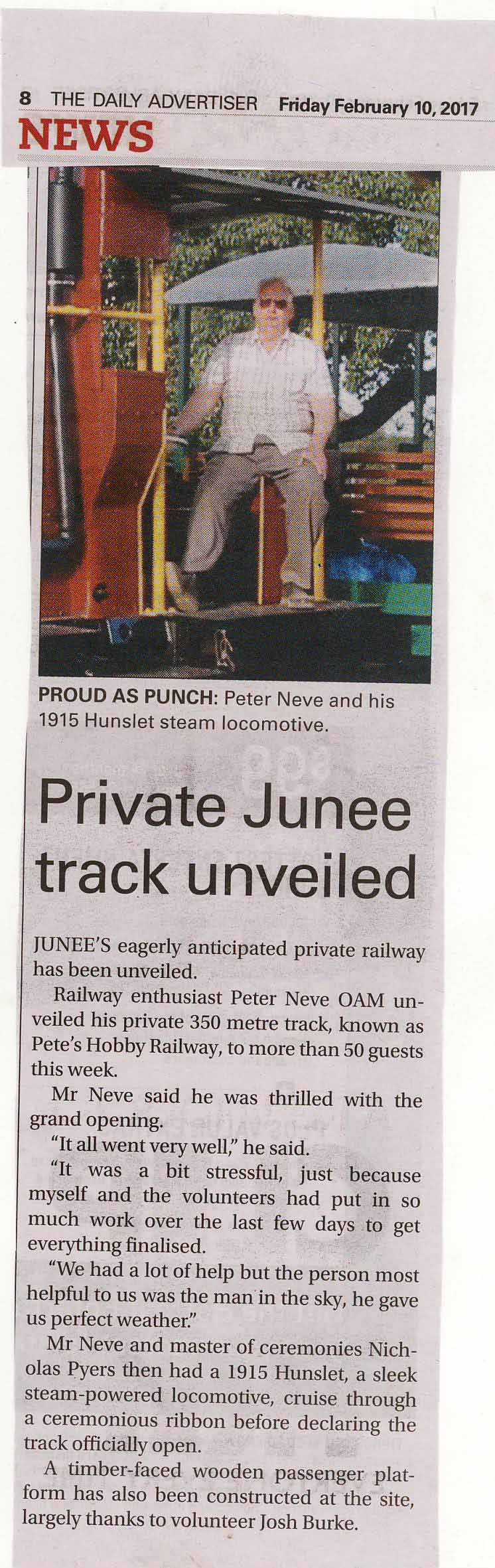 Private Junee track unveiled, as published on Page 8 in Wagga's The Daily Advertiser on Friday, February 10, 2017