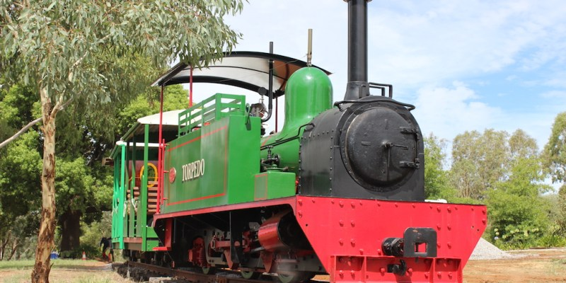 Hunslet Steam Locomotive at Pete's Hobby Railway, Junee