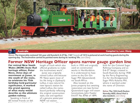 Former NSW Heritage Officer opens narrow gauge garden line As appeared in Railway Herald, Issue 537 Page 37
