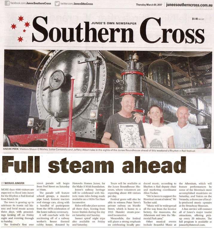 Full Steam Ahead. As appeared in the Junee Southern Cross on Thursday, March 9, 2017.