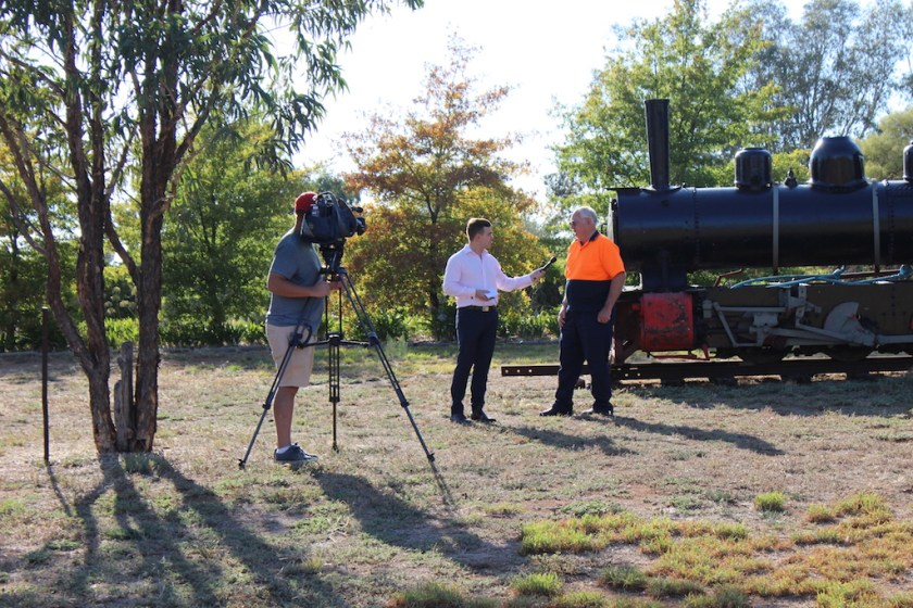 Pete being interviewed by Chris Meldrum from Prime 7 News Wagga