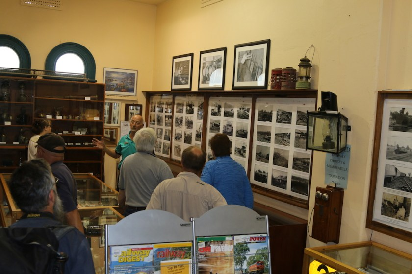 Image 2017-1328: Peter's Guests having various exhibits at Wagga Wagga Rail Heritage Station Museum explained to them.