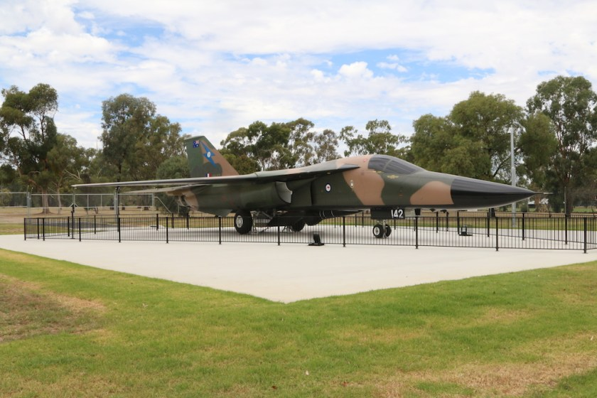 Image 2017-1346: A F-111 jet fighter on display at RAAF Wagga Heritage Centre