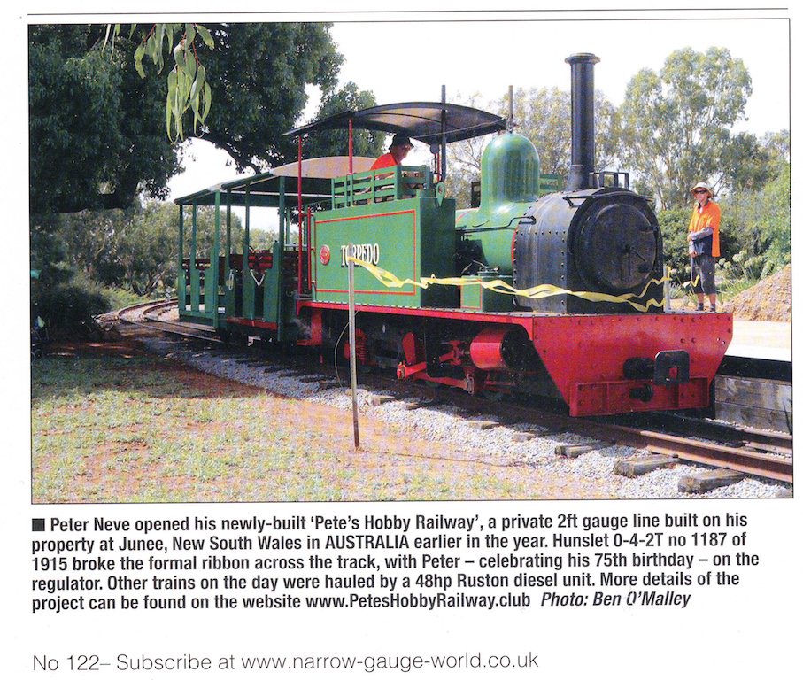 Extract from Page 15 of Narrow Gauge World, June 2017