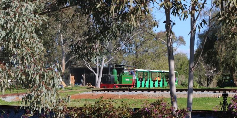 Train Spotting at Pete's Hobby Railway, Junee Hunslet steam locomotive