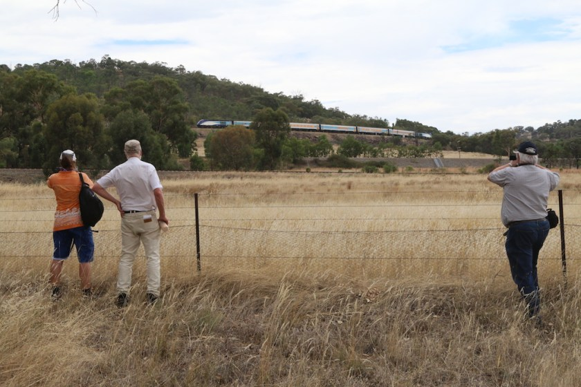 2017-1406: Gunzels again in the wild. This time photographing the Sydney-bound XPT climbing the Bethungra Spiral.