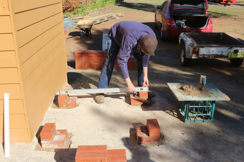 Image 2018-0989: Time for Josh to turn his attention to the brickwork for the base for the water tank. Saturday, 2nd June 2018.