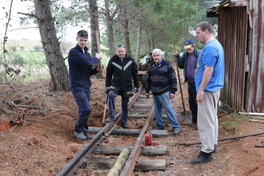 Image 2018.1478: The track-gang... Rhys, Ben, Gordon, Claude and Dave. I'm behind the camera! And additional sleeper has been installed, but is yet to be drilled and spiked.