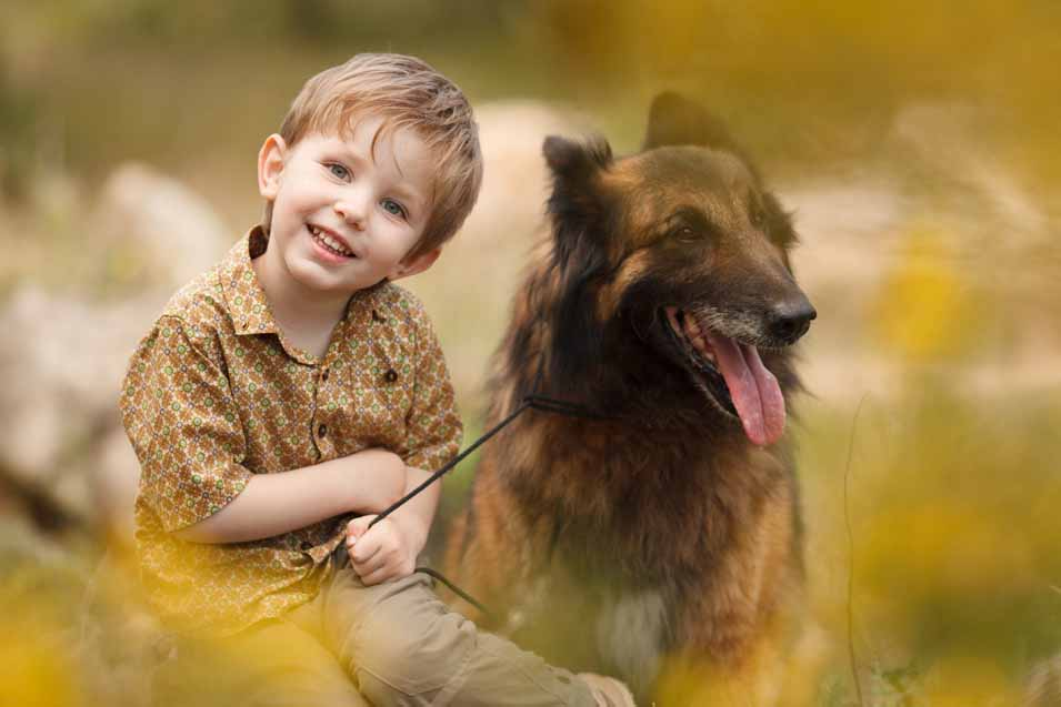 Picture of boy and his dog