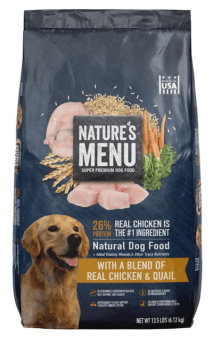Photo of a bag of Nature's Menu Chicken and Quail Dog Food