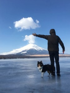 犬とキャンプ山中湖 雪中キャンプダイヤモンド富士