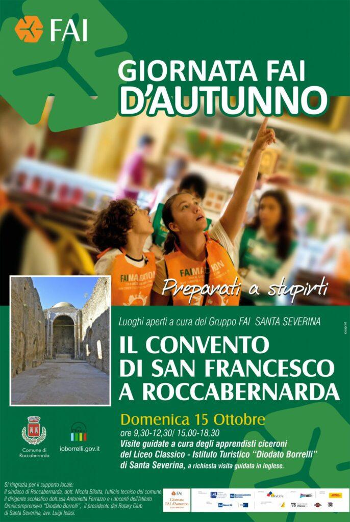 Ritornano le Giornate Fai, domenica a Roccabernarda alla scoperta del convento