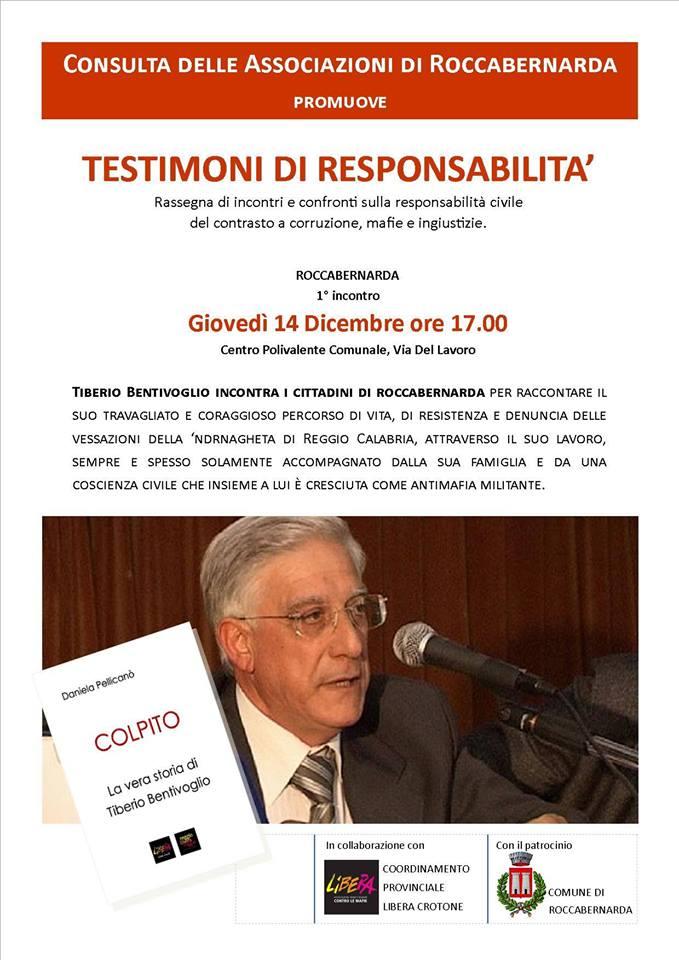 A Roccabernarda incontro con Tiberio Bentivoglio organizzato dalla consulta associazioni e Libera