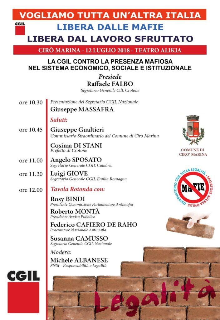 Conferenza Stampa Cgil Crotone: presentazione evento nazionale a Cirò Marina