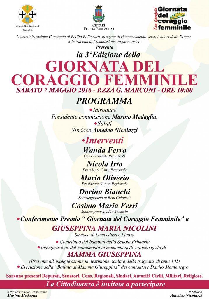 Terza edizione della Giornata del Coraggio femminile