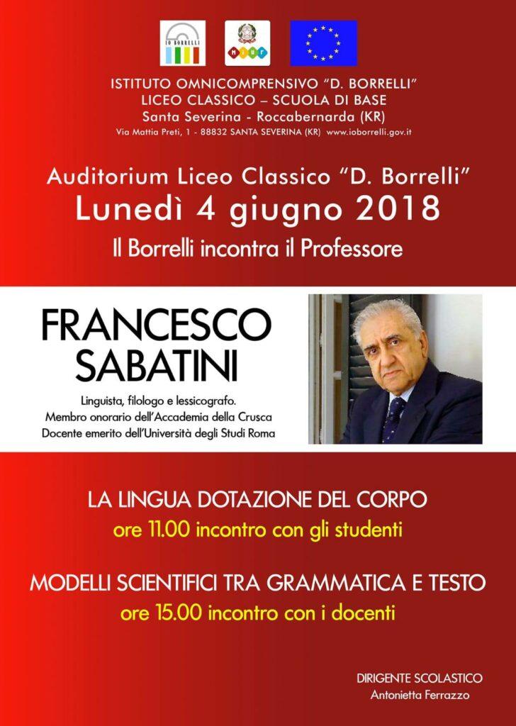 Il linguista Sabatini al Borrelli