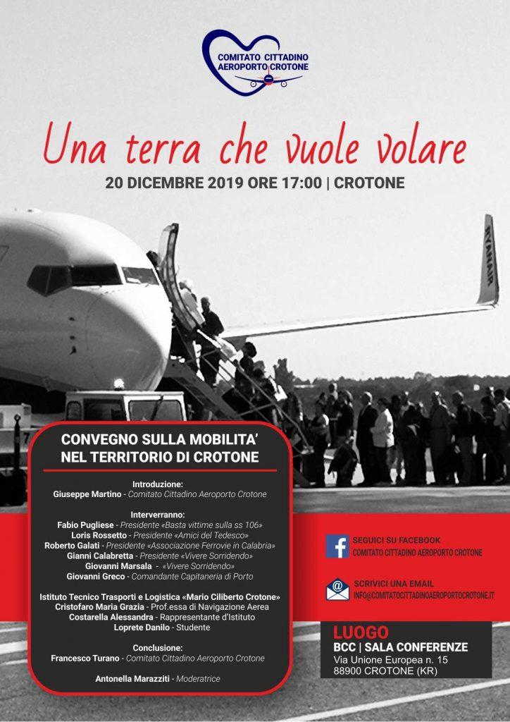 Col Comitato Cittadino Aeroporto Crotone giorno 20 si parlerà di trasporti