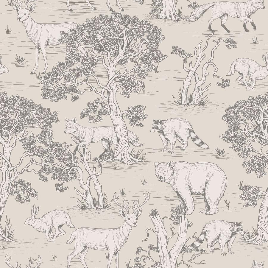 papier peint animaux de la foret ton beige