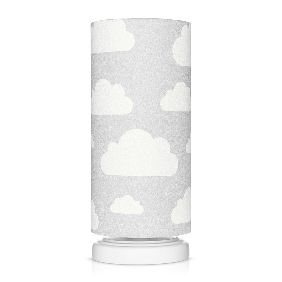 lampe de chevet enfant grise motif nuages