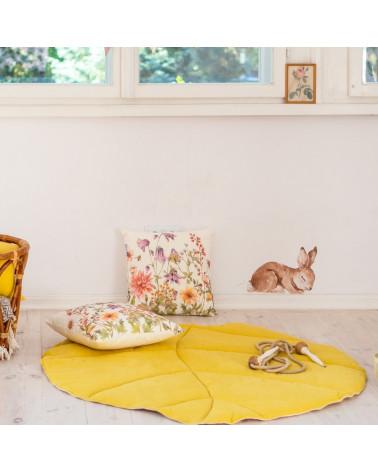 tapis de jeu en forme de feuille jaune moutarde