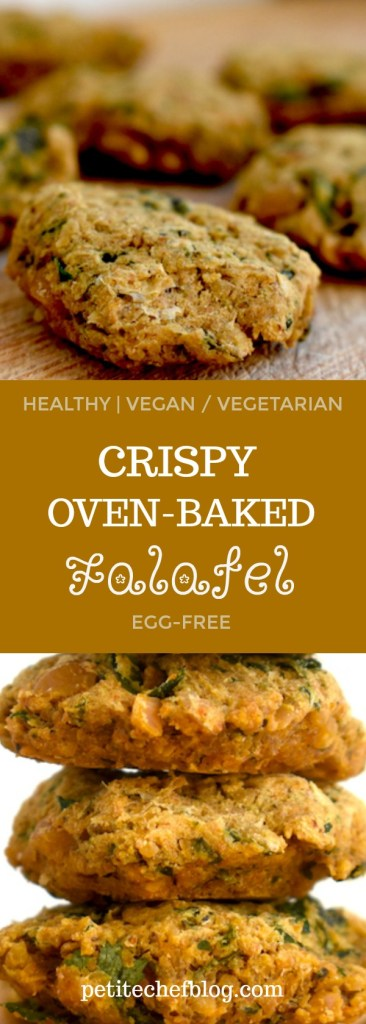 This recipe for Crispy Oven-Baked Falafel is egg-free and contains very little oil. Super healthy yet perfectly crispy and great addition to Greek-themed salads or pita wraps. | PETITECHEFBLOG.COM