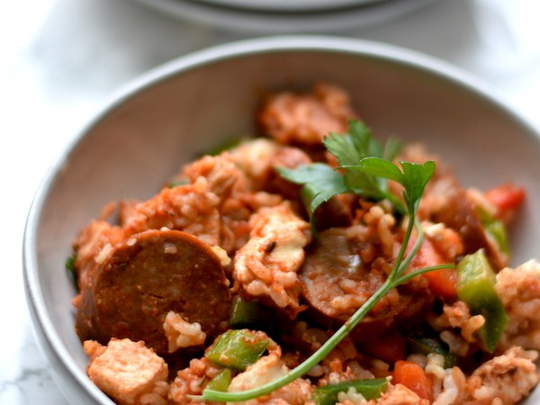 Healthy Chicken and Andouille Chicken Sausage Jambalaya Casserole | Healthy and easy to make! | PETITECHEFBLOG.COM