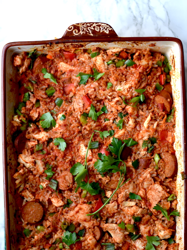 Healthy Chicken and Andouille Sausage Jambalaya Casserole | Healthy and easy to make! | PETITECHEFBLOG.COM