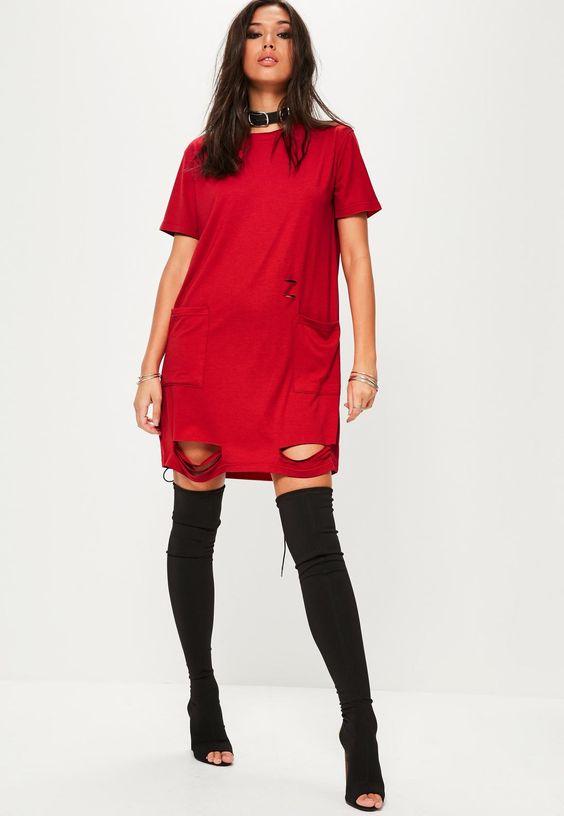 red distressed pocket t-shirt dress