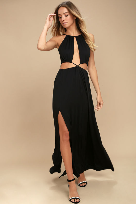 SULTRY SOMETHING BLACK BACKLESS MAXI DRESS