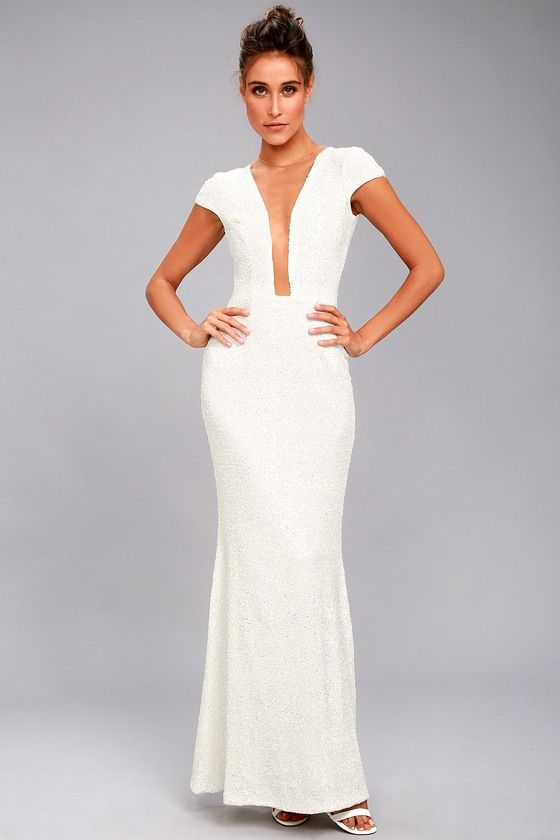 DRESS THE POPULATION MICHELLE WHITE SEQUIN MAXI DRESS