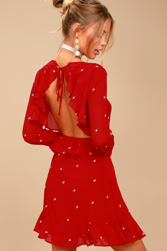 COUNTING CONSTELLATIONS RED EMBROIDERED BACKLESS DRESS
