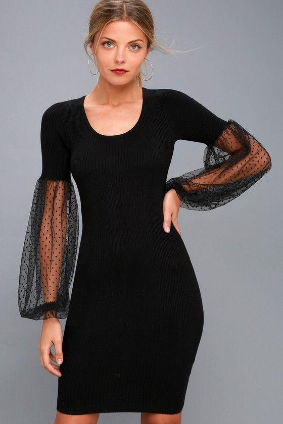 DOTTY DARLING BLACK LONG SLEEVE BODYCON DRESS LOST INK