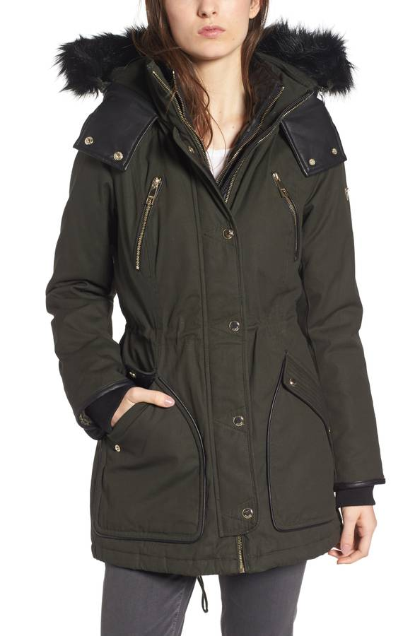 Hooded Anorak with Detachable Faux Fur GUESS
