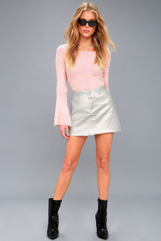 QUEEN OF SHEEN SILVER COATED MINI SKIRT