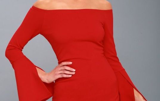 Marseille Red Off-the-Shoulder Long Sleeve Bodycon Dress