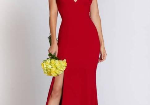 Iris Slit Crepe Gown DRESS THE POPULATION