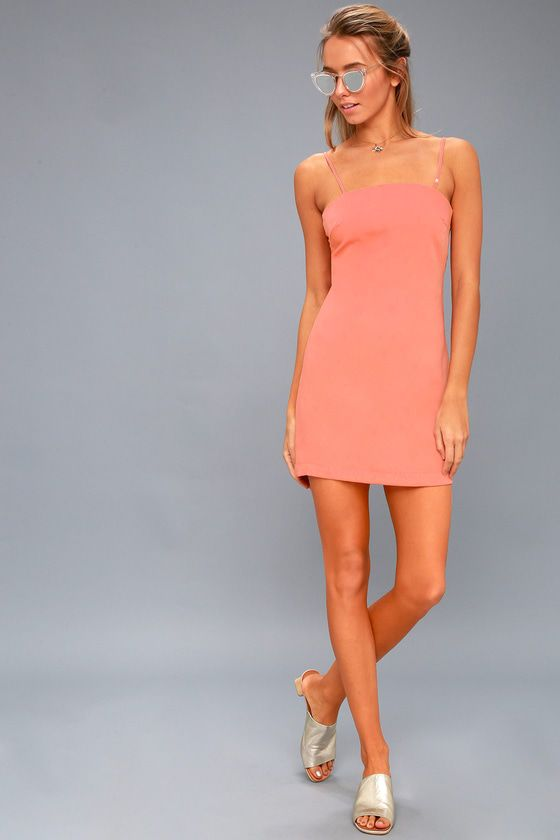 TOAST TO LIFE CORAL PINK MINI DRESS
