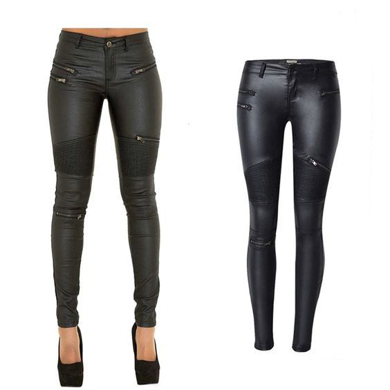 lexiart PU Leather Denim Pants For Women