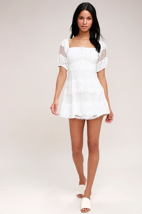 BE YOUR BABY WHITE LACE BABYDOLL DRESS FREE PEOPLE