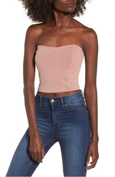 Stretch Cotton Strapless Top