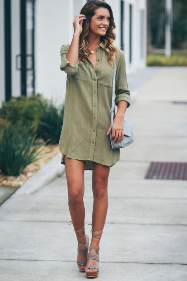 BUTTON UP SHIRT DRESS OLIVE