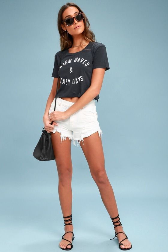 WARM WAVES NAVY BLUE CROPPED TEE