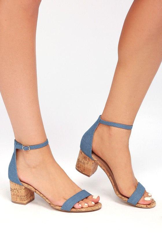 Best sandals for the Spring!!!!..BROOKE BLUE CORK ANKLE STRAP HEELS