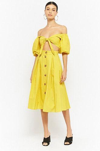 Puff-Sleeve Crop Top & Skirt Set