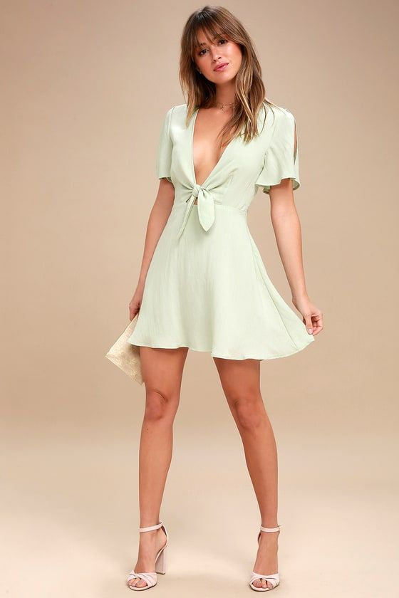 SEA DAY SAGE GREEN SKATER DRESS