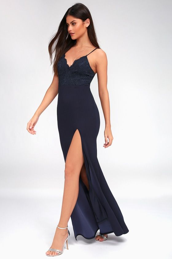 LEANDRA NAVY BLUE LACE MAXI DRESS