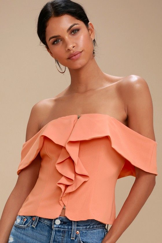 VIP SECTION CORAL PINK OFF-THE-SHOULDER TOP