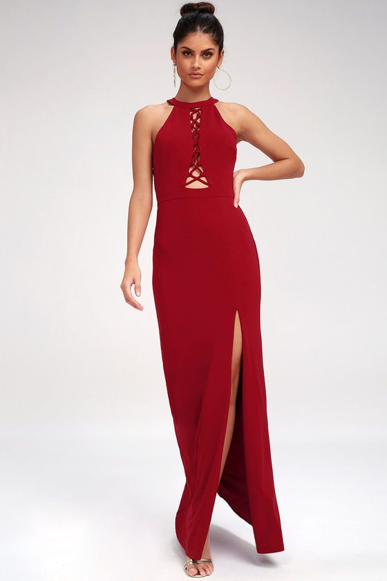 CAN'T TAKE MY EYES OFF OF YOU WINE RED LACE-UP HALTER MAXI DRESS