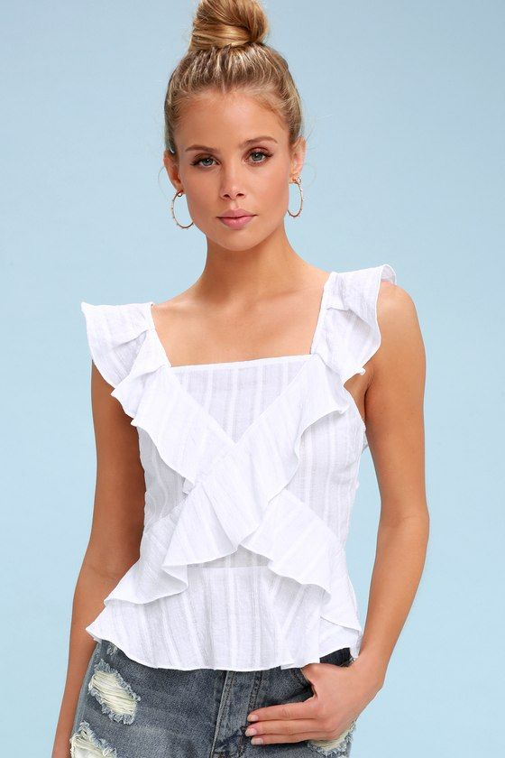 BEHOLD WHITE RUFFLED TOP
