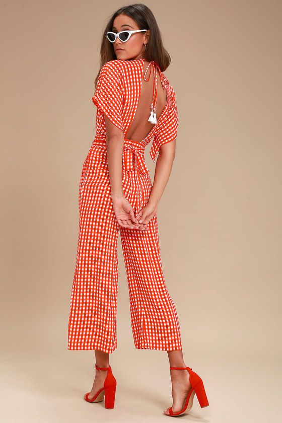 CEDRIC RED GINGHAM CULOTTE JUMPSUIT